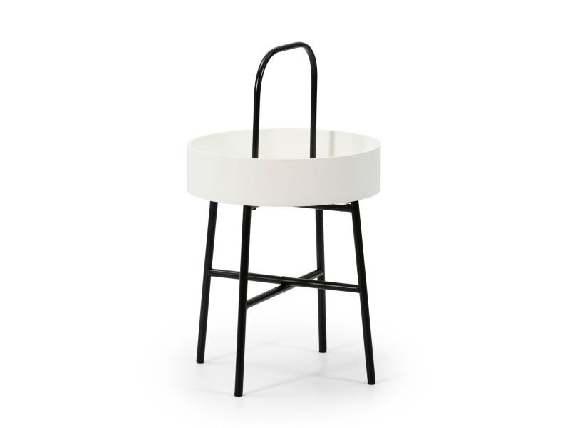 Table auxiliaire table basse ronde Jaipur avec plateau en mdf blanc et structure métallique en couleur noir mat/diamètre: 40 cm