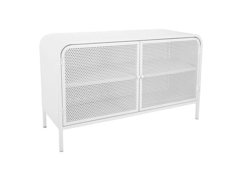 Meuble bas de 2 portes coloris blanc - 80 x 30 x 50 cm