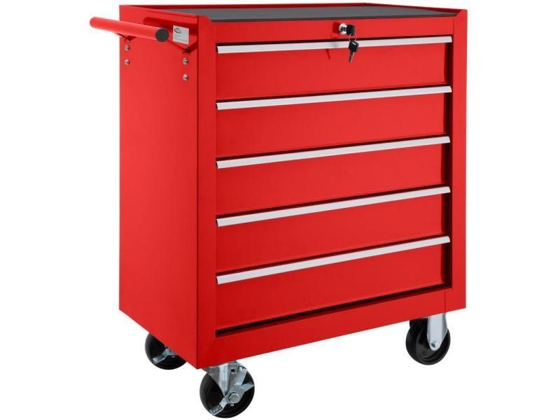 Servante d'atelier 5 tiroirs rouge helloshop26 3408112
