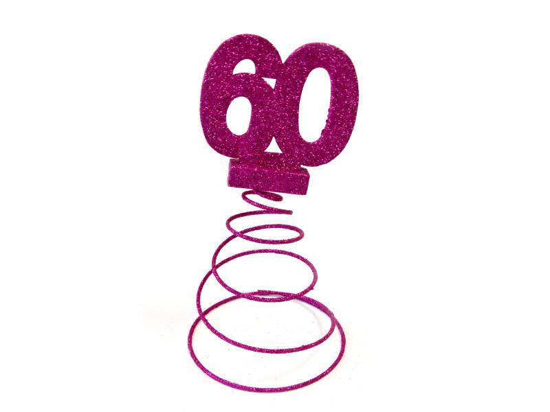 Lot de 10 centres de table pour anniversaire 60 ans - fuschia pailletée