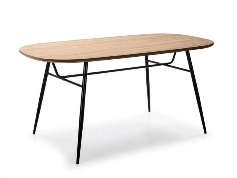 Bobochic table 160 cm kattio couleur bois chêne et pieds métal noir