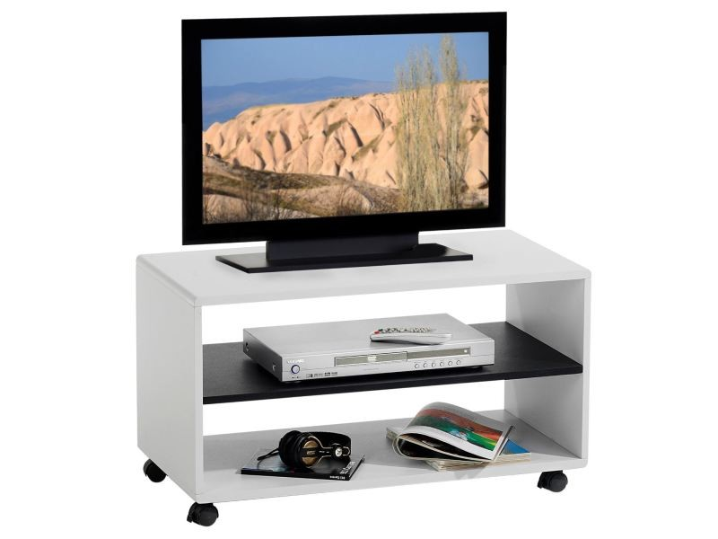 meuble tv sur roulettes mdf blanc noir vente de meuble. Black Bedroom Furniture Sets. Home Design Ideas