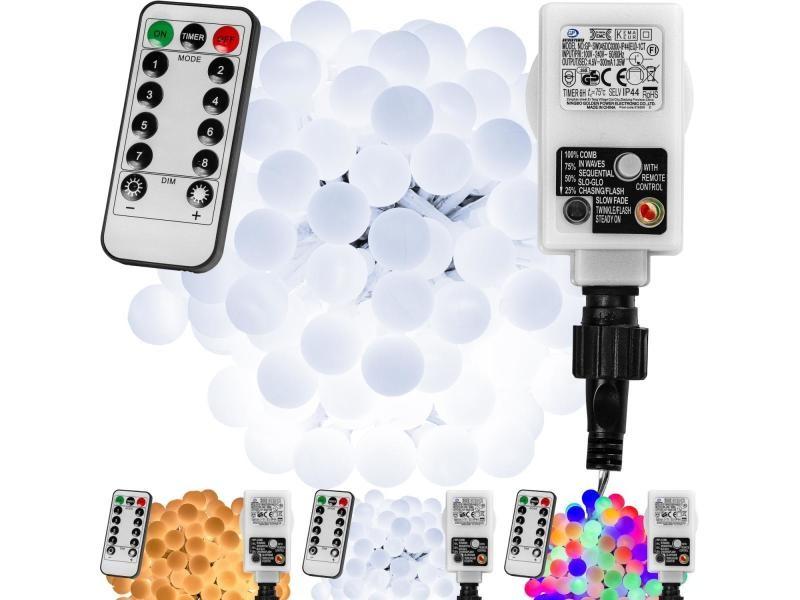 Voltronic® guirlande lumineuse boules led, blanc chaud/ blanc froid/ multicolore, 50 100 200 led, sur secteur avec télécommande - couleur : blanc froid - taille : 50 led
