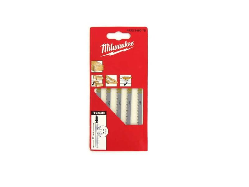 Pack de 5 lames scie sauteuse milwaukee bois/pvc 75 mm denture de 4 mm 4932346078 MILWLAMSAUTT124