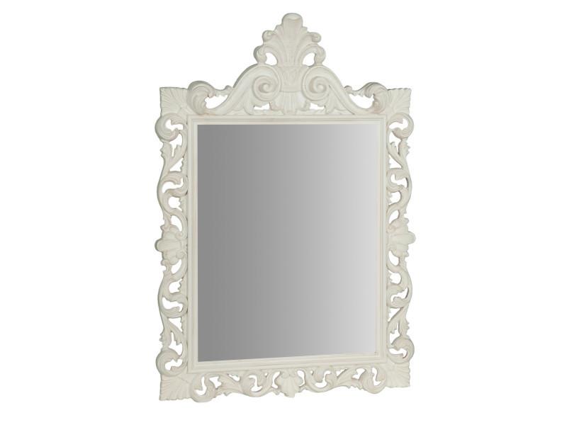 Miroir, long miroir mural rectangulaire, à accrocher au mur, horizontal et vertical, shabby chic, salle de bain, chambre à coucher, cadre finition blanc antique, grand, long, l86xp7xh124 cm. Style shabby chic.