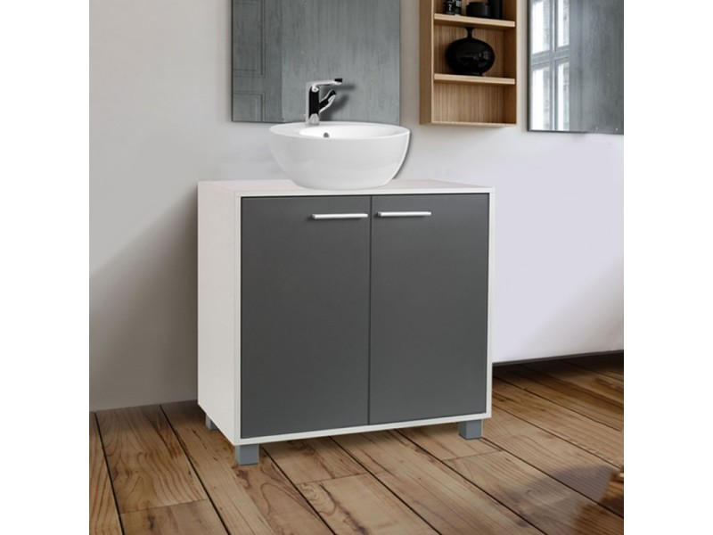 meuble sous lavabo gris pour vasque de salle de bain vente de id market conforama. Black Bedroom Furniture Sets. Home Design Ideas