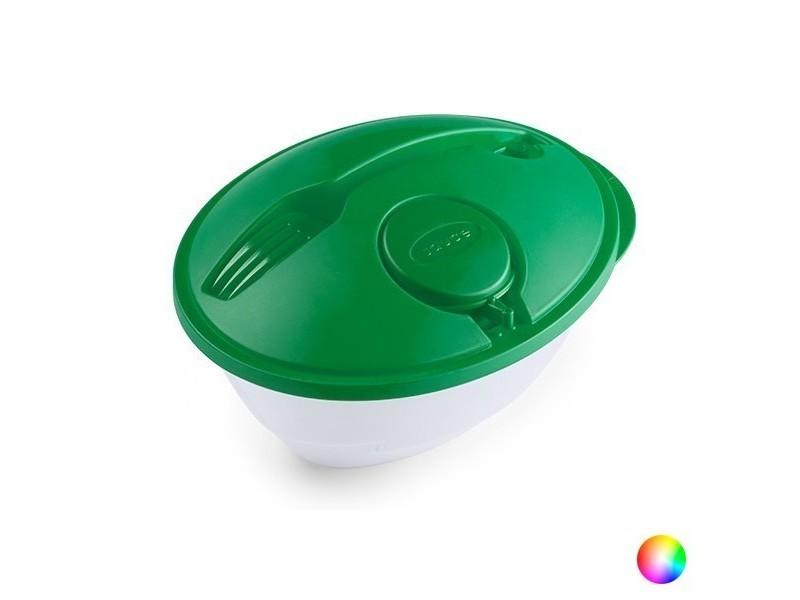 Saladier avec pot à sauces et fourchette (1,2 l) - lunch box couleur - vert