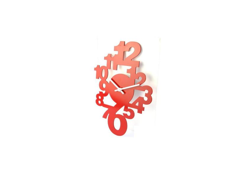 Horloge en bois - pendule design rouge