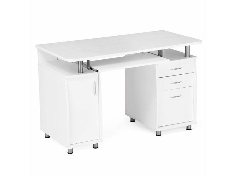 Bureau informatique meuble de bureau pour ordinateur blanc lcd w