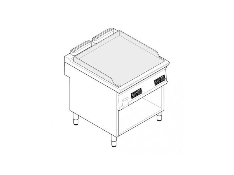Plaque à snacker electrique sur placard ouvert 12 kw - lisse double - tecnoinox - inox
