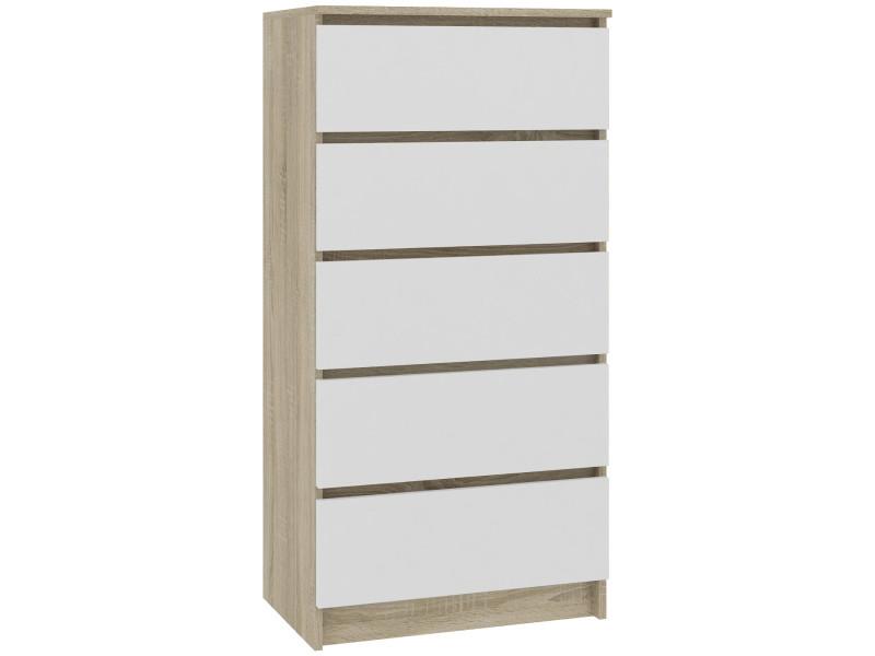 Skandi - commode contemporaine chambre + salon + bureau 121x60x40 cm - 5 tiroirs - design moderne - chiffonier semainier - sonoma/blanc