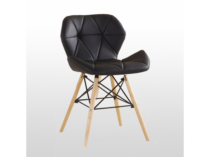 Chaise design en simili cuir noire - cecilia eiffel