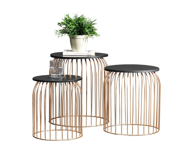 en.casa] panier métallique en kit de 3 - design table d\'appoint ...