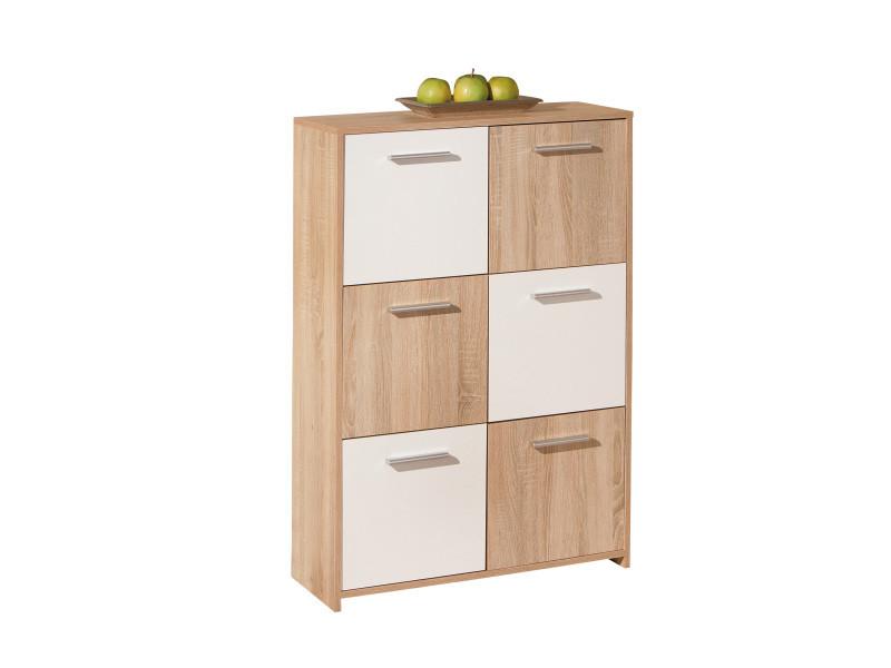 Commode buffet bahut meuble de rangement bureau cuisine salon séjour chêne blanc - Vente de ...