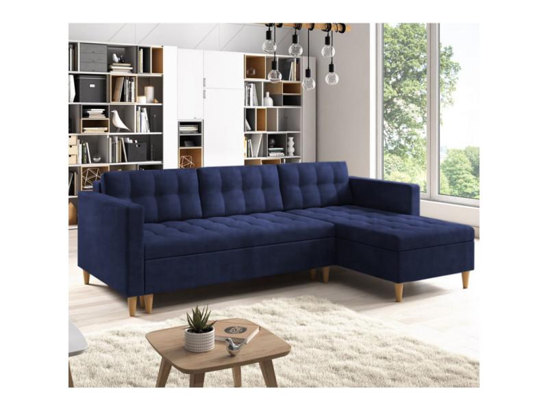 Canapé d'angle convertible - kopenhaga - tissu monolith 77 bleu marine - pieds en bois