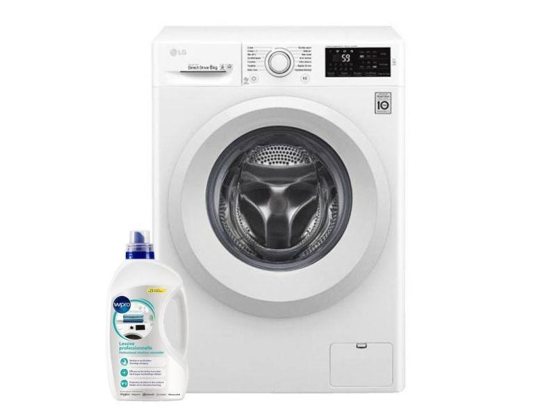 Lg lave-linge frontal blanc 8kg a+++ 1400trs/min connectée machine à laver hublot