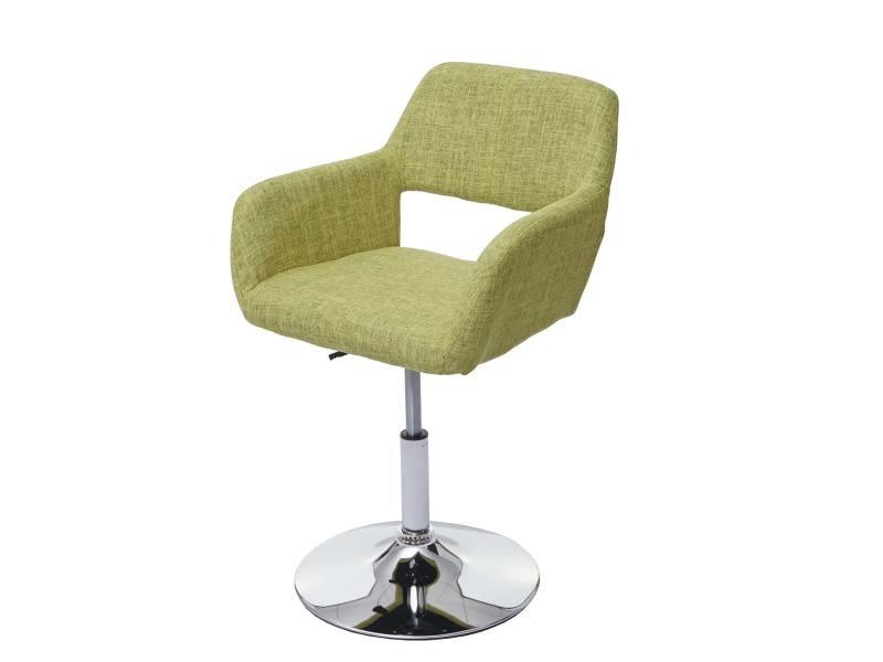 Chaise de salle à manger hwc-a50 iii, style rétro années 50, tissu ~ vert clair, pied en métal aspect chromé