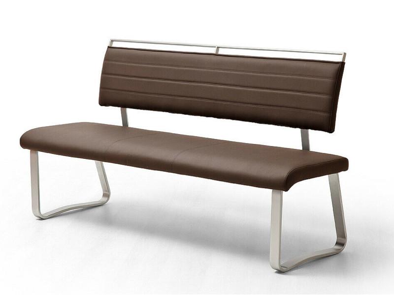 Banc de salle à manger en métal et simili cuir coloris marron - longueur 175 x hauteur 93 x profondeur 59 cm -pegane-