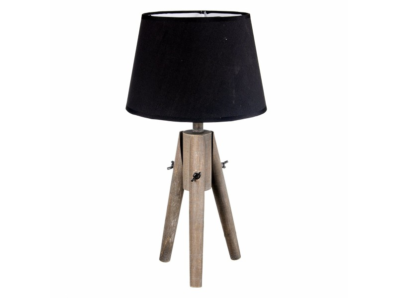 lampe poser tr pied en bois effet c rus et abat jour. Black Bedroom Furniture Sets. Home Design Ideas