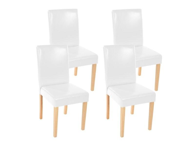 Lot de 4 chaises de salle à manger simili cuir blanc pieds