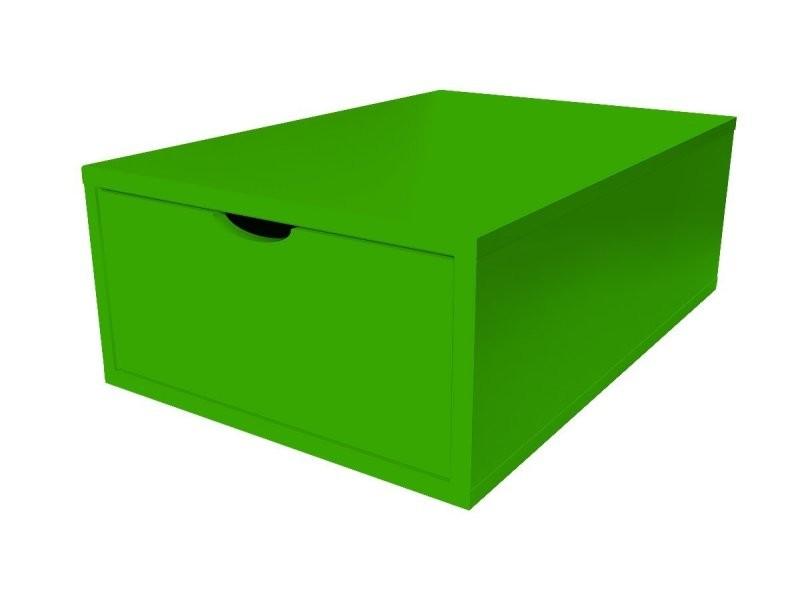 Cube de rangement bois 75x50 cm + tiroir vert CUBE75T-VE