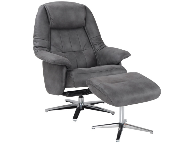 Fauteuil relax turin + pouf micro anthracite
