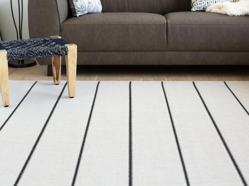 Tapis beige et noir à motif rayures 80x200cm babel - Vente ...