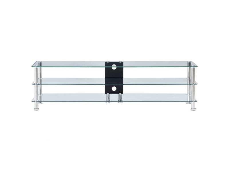 Vidaxl meuble tv transparent 150 x 40 x 40 cm verre trempé 280093