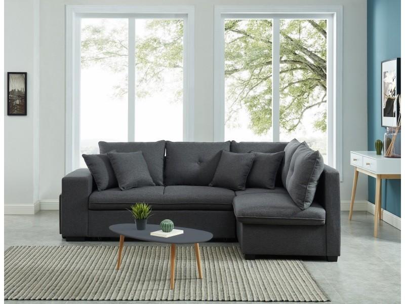 Canapé d'angle droit convertible koselig 4 places tissu gris + table anthracite CNBKDGRTX01_626