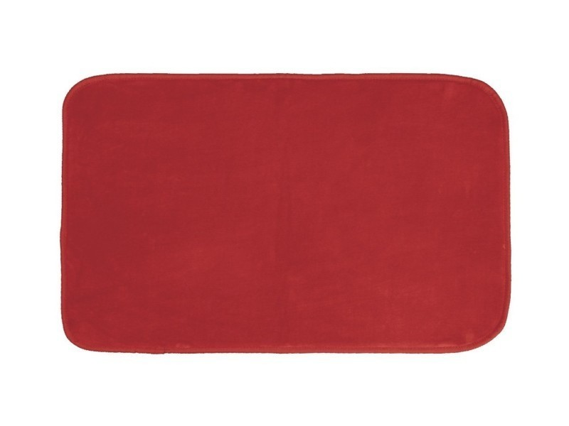 Tapis Rectangle 50 X 80 Cm Velours Uni Louna Rouge Vente De Tapis De Bain Conforama
