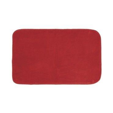 Tapis Rectangle 50 X 80 Cm Velours Uni Louna Rouge Vente De Tapis De Bain Conforama