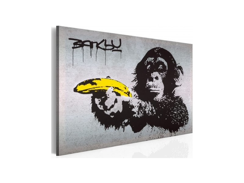 tableau arr te ou le singe va tirer banksy dimension. Black Bedroom Furniture Sets. Home Design Ideas