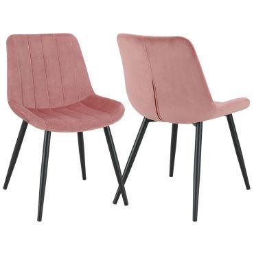 Duhome 2x chaise salle à manger en velours rose rembourrée