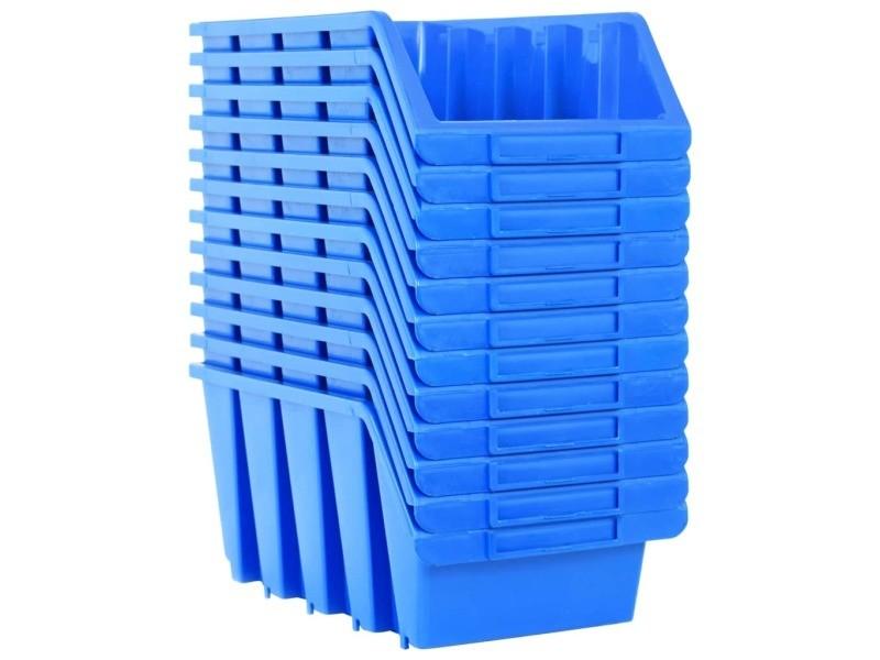 Vidaxl bacs empilables de stockage 14 pcs bleu plastique 146286