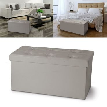 banc coffre rangement pvc taupe 76x38x38 cm pliable vente de id market conforama. Black Bedroom Furniture Sets. Home Design Ideas