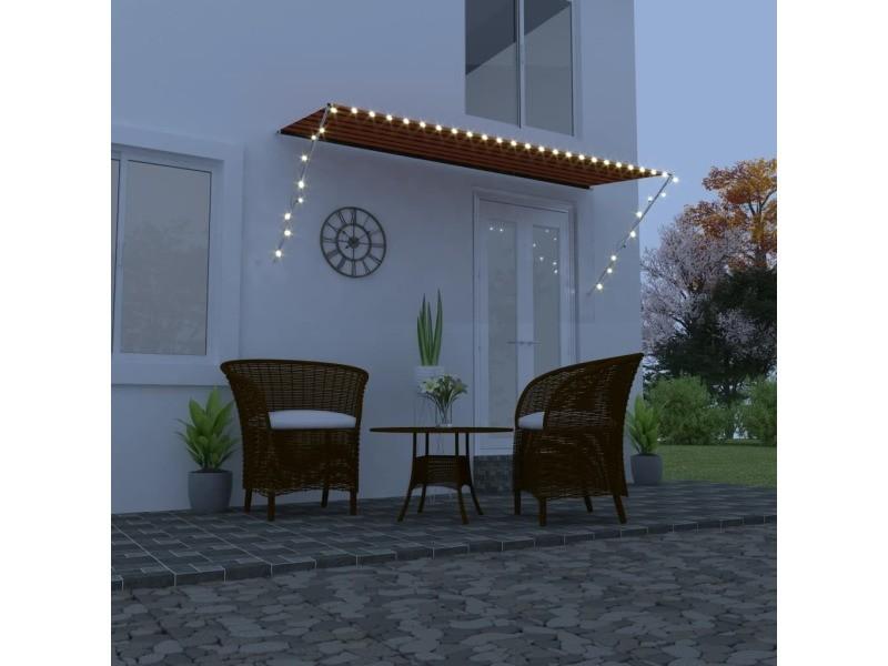 Vidaxl auvent rétractable avec led 350x150 cm orange et marron 145933