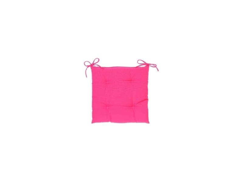 Galette de chaise carrée 4 points - 40 x 40 x 4 cm - polyester - framboise