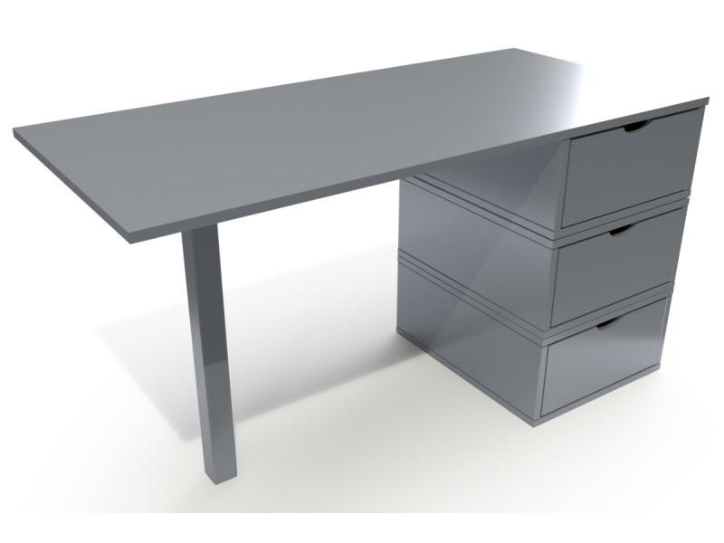Bureau bois 3 tiroirs cube gris aluminium BUR3T-Ga