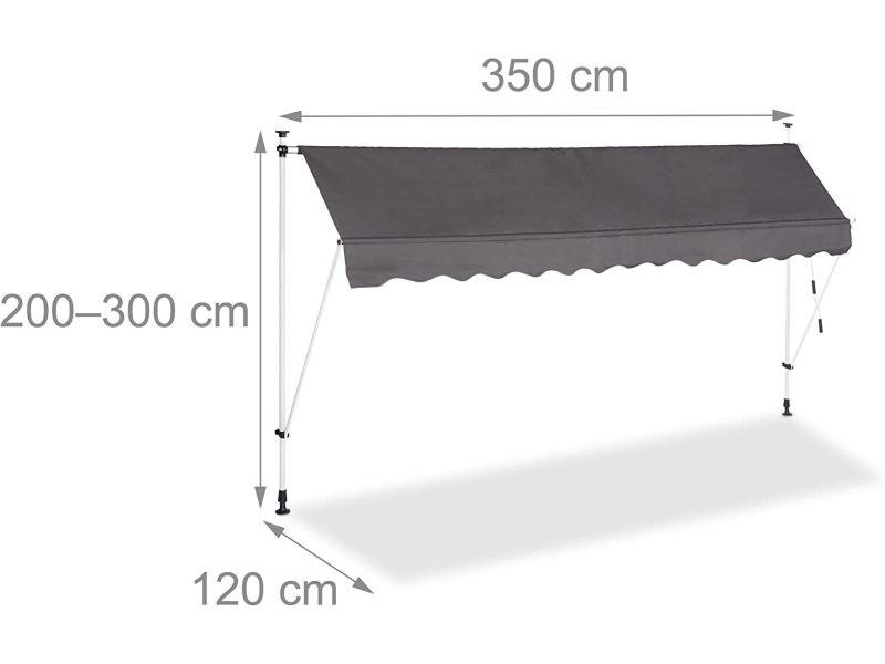 Store banne télescopique de balcon manivelle hauteur réglable résistant uv polyester acier 350 x 120 cm gris helloshop26 13_0002541_2