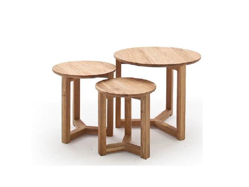 Set de 3 tables basses fayence en chêne massif 20100880070