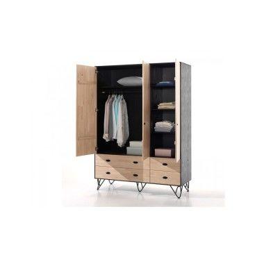 vipack armoire william en bois massif vernis naturel et noir 3 portes avec tiroirs wikl1340. Black Bedroom Furniture Sets. Home Design Ideas