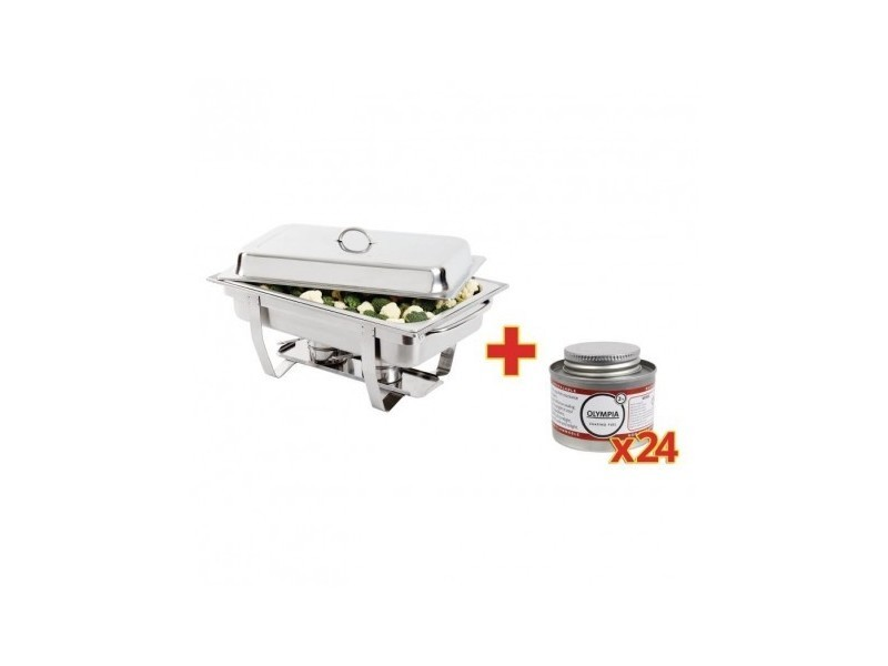 Chafing dish inox gn 1/1 + 24 capsules - olympia -