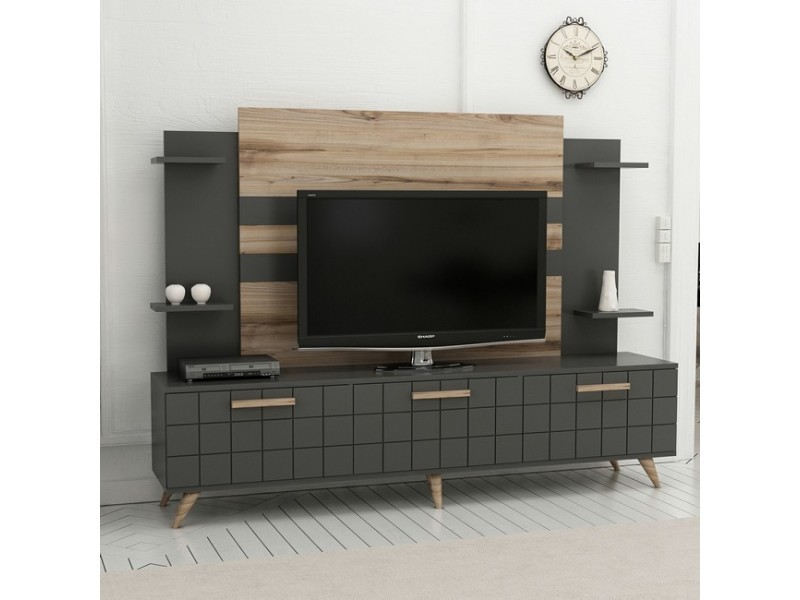 Homemania meuble tv grace moderne - avec portes, étagères - pour salon - noyer, anthracite en bois, 180 x 35 x 136 cm