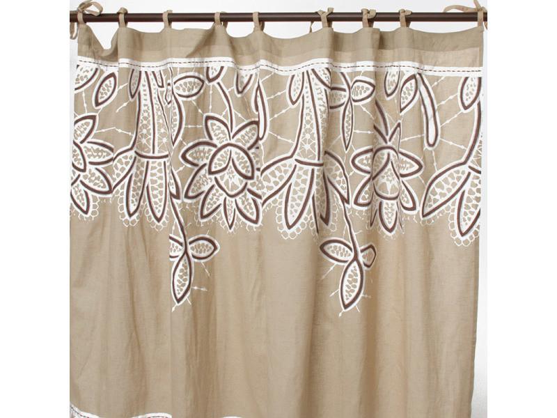 Ange - rideau en coton couleur lin et blanc à motifs floraux 140x250