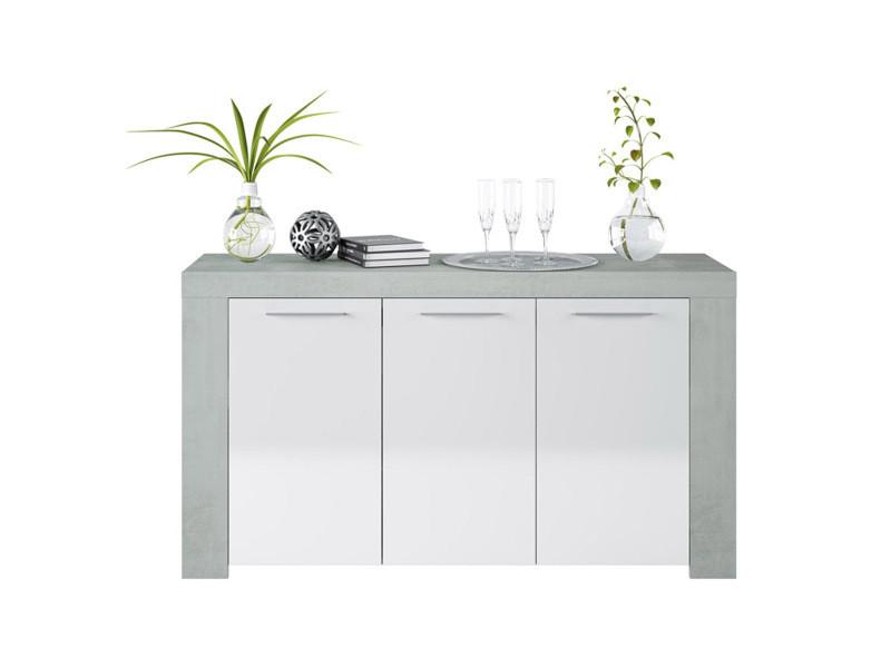 Buffet avec 3 portes coloris blanc artik / ciment en mélamine - dim: 80 x 144 x 42 cm -pegane-
