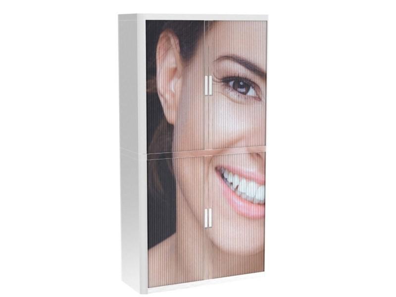 Armoire de bureau métalique porte coulissante h 2m - sourire