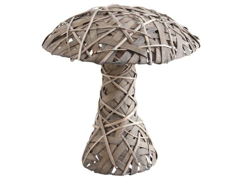 Champignon décoratif en osier gris et bois