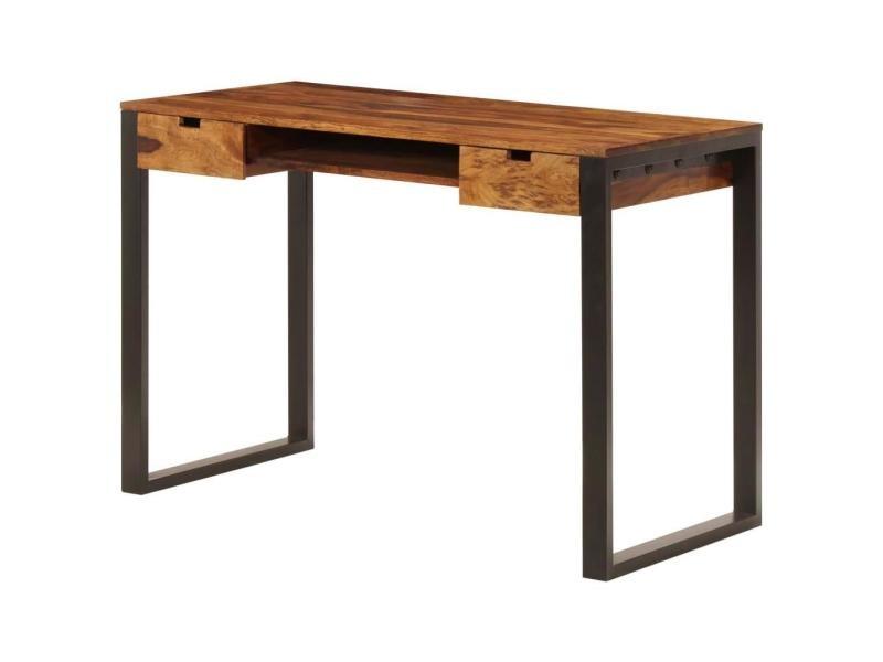 Bureau table meuble travail informatique 110 cm bois solide et acier helloshop26 0502086