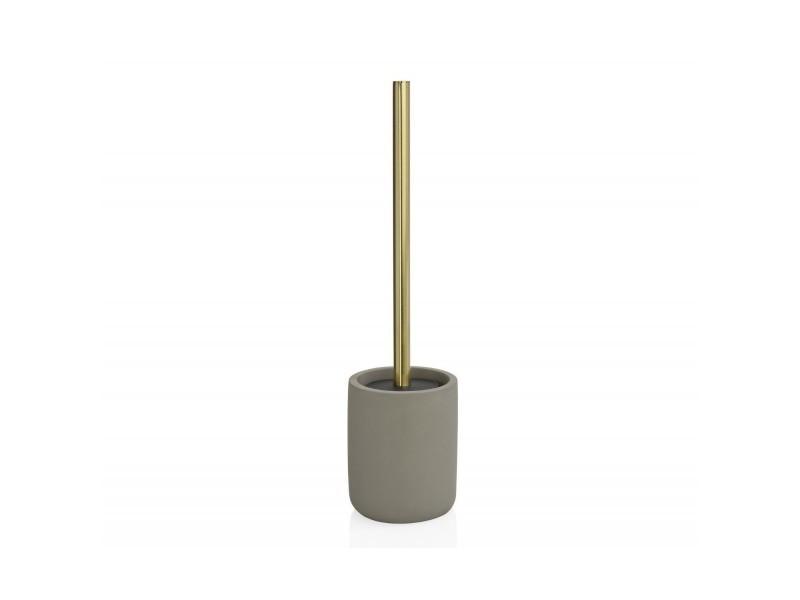 Brosse wc en ciment gris et métal doré