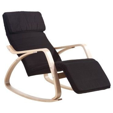 rocking chair chaise bascule fauteuil relaxant noir. Black Bedroom Furniture Sets. Home Design Ideas